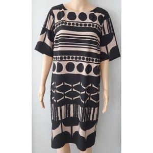 Avenue Short-sleeve Midi Dress Size 18 Black & Tan